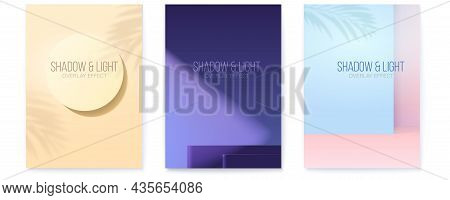 Set Of Posters For Demonstration A Products. Light Of Spotlight And Shadows. Minimalistic Geometric