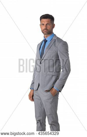 Portrait Of Mid Adult Business Man Isolated On White Background, Business People