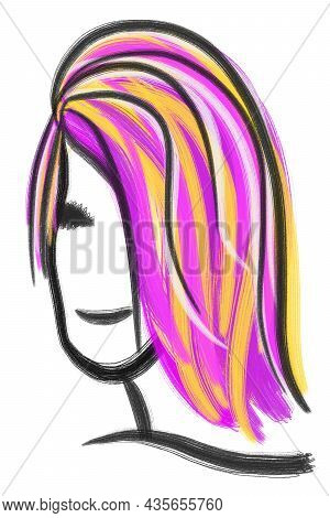 Hand-drawn Doodle Portrait Of Non Binary People, Black Line With Rainbow Color Hair Style, Smiling F