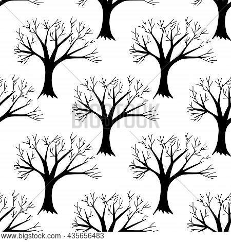 Tree Seamless Pattern Hand Drawn Doodle. Vector, Scandinavian, Nordic, Minimalism, Monochrome. Texti