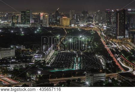Bangkok, Thailand - Aug 28, 2020 : Aerial View Of Bang Sue Central Station With Skyscrapers Backgrou