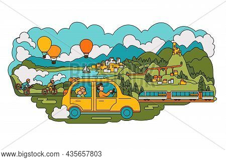 Family Car Ride Through Nature Vector Illustration. Travelers Spend Active Pastime Flat Style. Lands