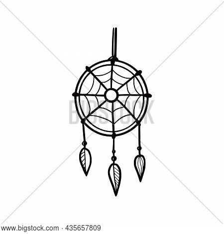 Hand Drawn Cute Dream Catcher. Doodle Sketch Style. Drawing Line Simple Dream Catcher Icon. Isolated