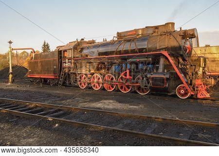 Sortavala, Russia - October 07, 2021: Old Soviet Cargo Steam Locomotive L-4429 On Sortavala Station