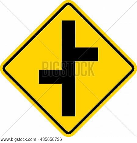 Offset Side Road Intersection Sign. Yellow Diamond Background. Traffic Signs And Symbols.