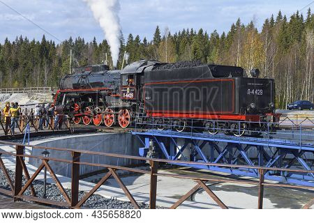 Ruskeala, Russia - October 07, 2017: Steam Locomotive L-4429 (locomotive Of