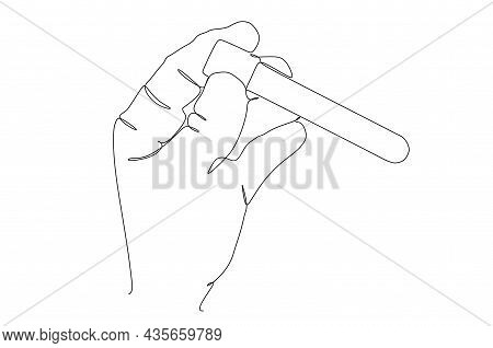 Continuous Line Drawing Of Hand Hold Test Blood Sample From Glass Tube To Find Covid-19 Vaccine. Cor