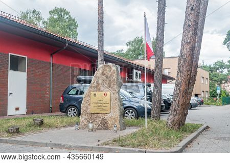 Hel, Poland - July 20, 2021: Stone Commemorating The Heroic Defenders Of Hel From The 2nd Marine Gen