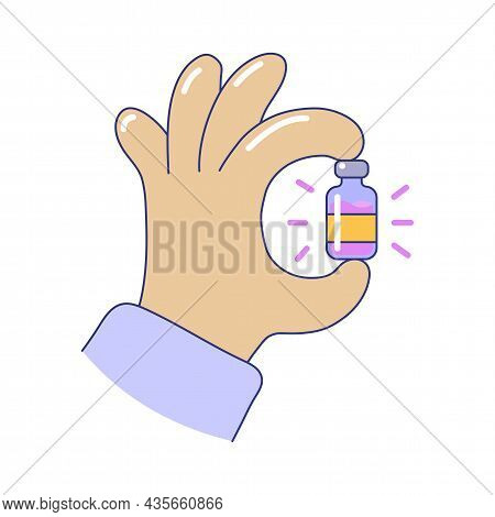 Hand Holding Medicine Bottle Doing Ok Sign Gesture. Glass Vial Medical Equipment, Bottle Of Vaccine,