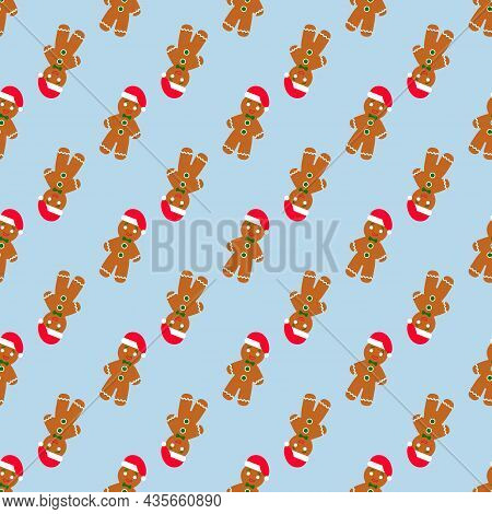 Gingerbread Man Seamless Pattern. Cute Vector Background For New Year's Day, Christmas, Winter Holid