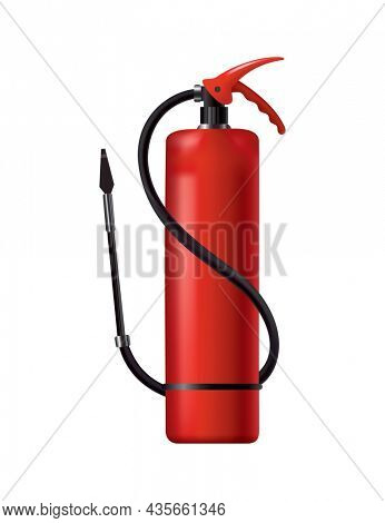 Red fire extinguisher. Isolated portable fire-fighting unit with hose. Firefighter tool for flame fighting attention. Portable fire extinguishing equipment