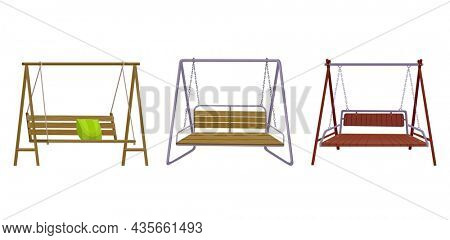 Set of garden swing benchs. Classic outdoor garden wooden hanging furniture. Wooden porch swings hanging on frame with ropes and chains. Patio elements for relax