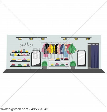 Clothing Store. Warm Clothes. Winter Clothes. Vector Image Of A Boutique