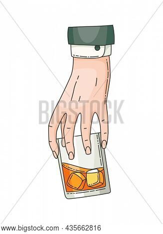Hand holding glass with strong drink whiskey. Vintage hand drawing illustration. Drink tequila or whiskey, beverage booze in hand. Glass of whiskey with ice isolated on white background