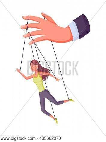 Puppeteer hand controlling puppet. Business woman or worker being controlled by puppet master. Manipulates a woman like a puppet. Employer domination exploitation or authority manipulator