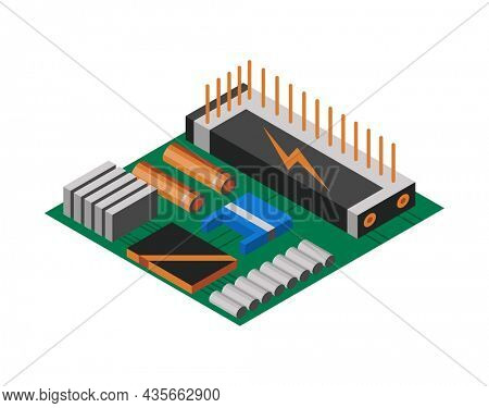 Isometric circuit board with electronic components. Computer chip technology processor circuit and computer motherboard information system. Technology equipment device concept