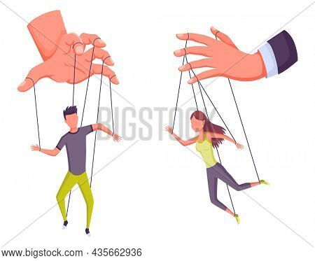 Puppeteer hands controlling puppets, manipulator concept. Worker being controlled by puppet master. Manipulates peopl like a puppets. Employer domination exploitation or authority manipulator