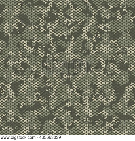 Camouflage Seamless Mesh  Pattern. Khaki Camo Design For T-shirt. Military Background With Holes. Ar