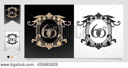 Illustration Of 60th With Floral Frame Ellipse Element With Isolated Background, Applicable For Lett
