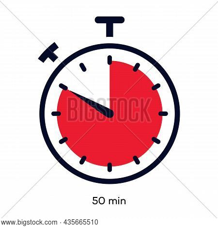 Timer 50 Minutes Symbol Color Line Style Isolated On White Background. Clock, Stopwatch, Cooking Tim