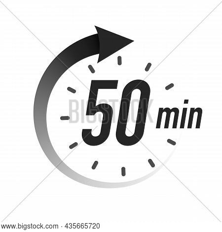 50 Timer Minutes Symbol Black Style With Arrow Isolated On White Background. Clock, Stopwatch, Cooki