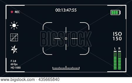 Viewfinde Template Record Frame Isolated On Transparent Background. Night Camera Military Viewfinder