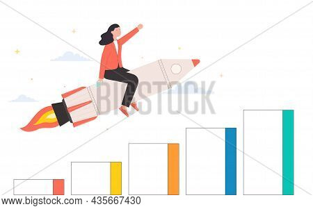 Woman Moving Upward On Rocket. Business Development And Growth, Goal Achievement Concept.