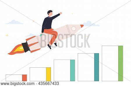 Man Moving Upward On Rocket. Business Development And Growth, Goal Achievement Concept.