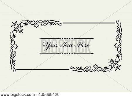 Vintage Ornamental Frames And Labels With Swirly Border Pattern