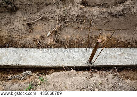 Ready Foundation With Metal Reinforcement And Concrete. Fence Base. Construction Process. Building T