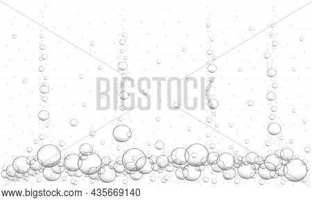Underwater Bubbles Background. Fizzy Carbonated Drink, Beer, Champagne, Seltzer, Cola, Soda, Lemonad