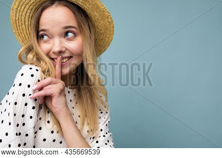 Closeup Photo Of Young Positive Happy Cute Beautiful Blonde Woman With Sincere Emotions Wearing Summ