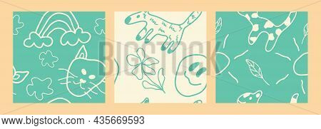Children's Drawing Seamless Pattern. Color Children's Drawings Of Primitive Wallpapers, Sketches Of