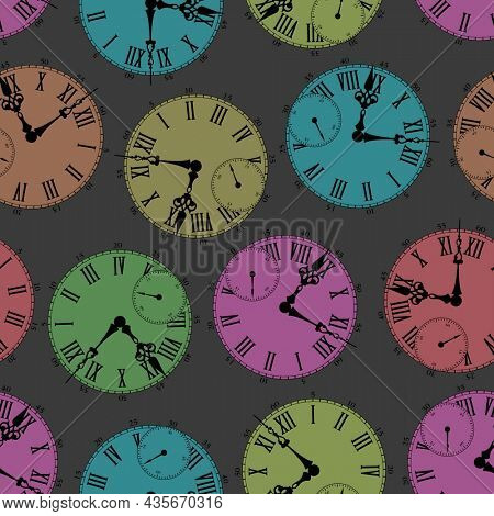 Colored dials. The theme of the passing time. Seamless pattern with vintage watch dial pattern.
