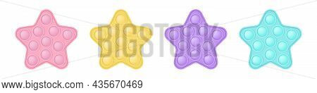 Set Of Popit Stars In Style A Fashionable Silicon Fidget Toys. Addictive Antistress Toy In Pastel Co