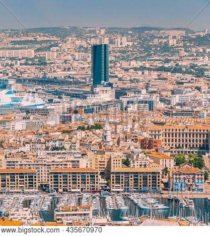 Marseille, France. Cityscape Of Marseille, France. Urban Background. Urban Elevated View, Cityscape