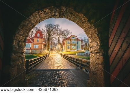 Kuressaare, Saaremaa Island, Estonia. Passage Entrance From Episcopal Castle. Traditional Medieval A