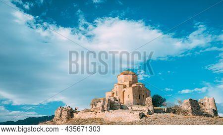 Mtskheta, Georgia. Jvari, Georgian Orthodox Monastery, World Heritage By Unesco Ancient Temple.