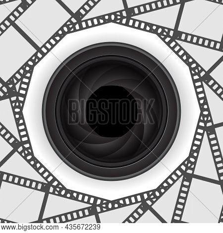 Camera lens icon 3d on round film strip background