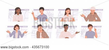 Conference Call And Remote Meeting Concept. Set Of Illustrations With Men And Women Talking And Disc
