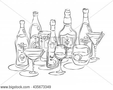 Bottle And Glass Vermouth Beer Red Wine Whiskey Martini Together In Hand Drawn Style. Beverage Outli