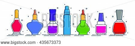 Cosmetic Container Nail Polish, Gel, Oil In Row. Female Fashion Product. Traditional Plastic Or Glas