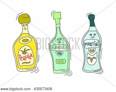 Tequila, Vermouth And Martini With Smile On White Background. Cartoon Sketch Graphic Design. Doodle