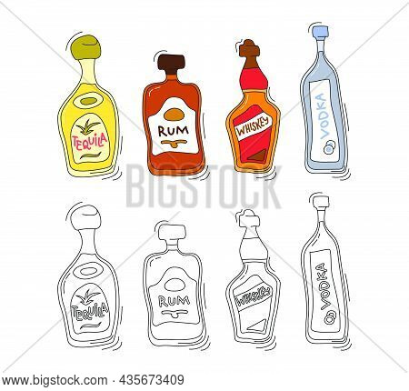 Tequila, Rum, Whiskey, Vodka Bottle On White Background. Two Kinds Beverage. Cartoon Sketch. Doodle