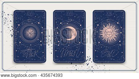 Banner With Tarot Cards The Sun, The Star, The Moon. Mystical Frame For Astrology, Fortune Telling,