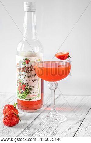 Glass Of Bitter Fraise Cocktail