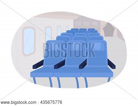 Airplane Passenger Seats Row 2d Vector Isolated Illustration. Sits For Flight Journey. Plane First C