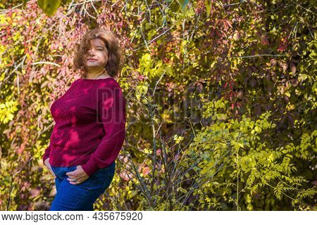 Plus Size European Or American Mature Woman At Park, Enjoy The Life, Walks. Life Of People Xl Size,