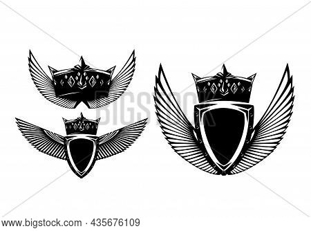 Metal Shield, King Crown And Stylized Feathered Wings Spread Wide - Black And White Vector Security