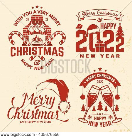Set Of Merry Christmas And Happy New Year Stamp, Sticker With Glasses Of Champagne, Fireplace With C
